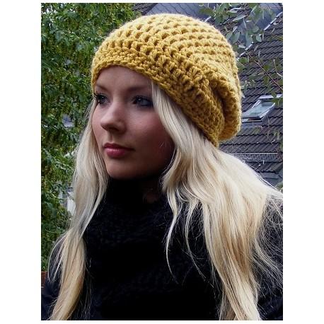 Long Beanie Mütze Damen in trendigem Senf aus Wolle gehäkelt. Liebevolle Handarbeit. Farbe, KU 54-62 cm