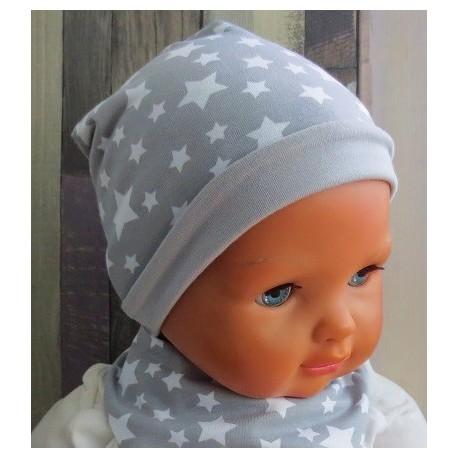 Jersey Mütze Kinder Beanie Junge Sterne Grau Weiß genäht. Zum Wenden. Farbe, KU 39-55 cm nach Wunsch