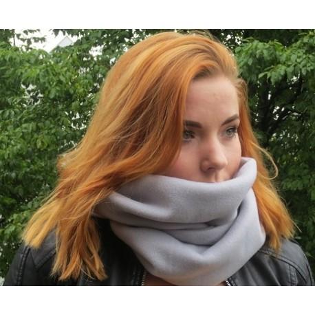 Fleece Schal Grau Damen kuschelig genäht. Als Loop oder zum Knoten. Viele Farben nach Wunsch