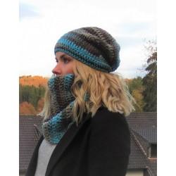 Mützen Schal Set Damen Bunt Türkis mit Long Beanie Schlauchschal aus Wolle gehäkelt. Farbe, KU 54-62 cm