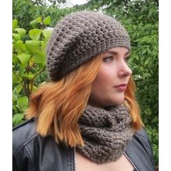 Mütze Schal Set Damen Taupe mit Glitzer aus Wolle gehäkelt. Mit Long Beanie und Loop. Farbe, KU 54-62 cm