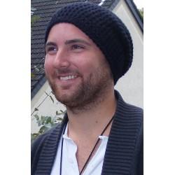 Männer Mütze Beanie gehäkelt in Schwarz aus Wolle. Coole Long Haube. Handarbeit. Farbe, KU 54-65 cm