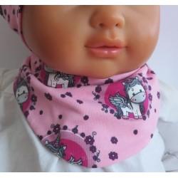 Dreieckstuch Baby Mädchen Rosa mit Motiv Blumen zum Wenden aus Jersey genäht. Farbe, 0-8 Jahre nach Wunsch