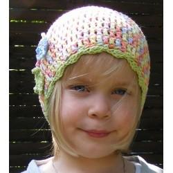 Kinder Mütze Sommer Mädchen Bunt aus Baumwolle gehäkelt. Zauberhaft. Handarbeit. Farbe, KU 42-55 nach Wunsch