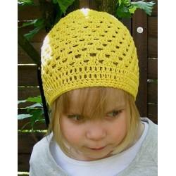 Sommermütze Kinder Gelb für Mädchen aus Baumwolle gehäkelt. Handmade. Farbe, KU 42-55 nach Wunsch
