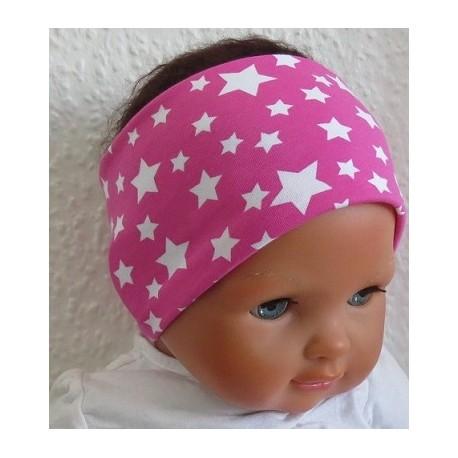 Haarband Kleinkind Pink mit Sternen Sommer aus Jersey genäht. Auch mit Mittelteil. Farbe, KU 36-55 nach Wunsch