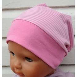 Sommermütze Baby Mädchen Rosa geringelt aus Jersey genäht. Long Beanie im Shop. Farbe, KU 39-55 cm