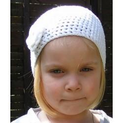 Sommermütze Kinder Weiß Mädchen Blume aus Baumwolle gehäkelt. Handarbeit. Farbe, KU 42-55 cm