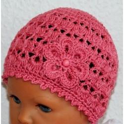 Sommermütze Baby Altrosa zauberhaft mit Muster aus Baumwolle gehäkelt. Handmade. Farbe, KU 42-55 cm