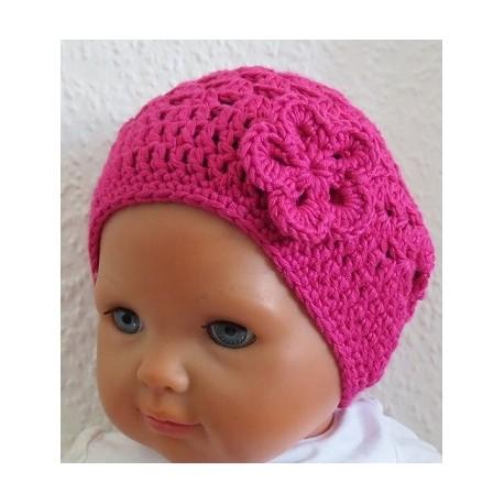 Häkelmütze Kinder Sommer Mädchen mit Blume Pink als Beanie gehäkelt. Partnerlook im Shop.Farbe, KU 39-55