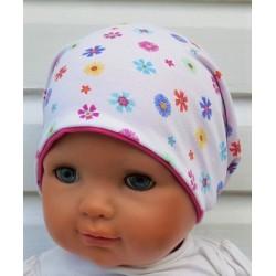 Sommermütze Kinder Baby Mädchen Weiß Pink Blumen Long Beanie Jersey genäht. Zum Wenden. KU 39-55 cm