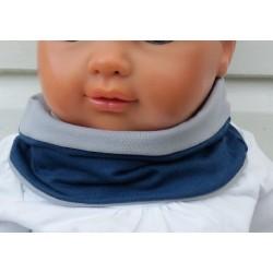 Schlupfschal Kinder Loop für Jungen Jeansblau Hellgrau aus Jersey zum Wenden genäht. Farben, KU 39-55 nach Wunsch