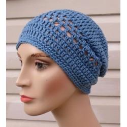 Sommer Beanie Frauen Damen Mütze Blau von Hand gehäkelt. Tolle Farbe. Farben, KU 54-62 nach Wunsch.