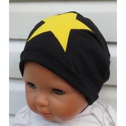 Beanie Mütze Kinder Jungen Jersey Schwarz Gelb Stern genäht. Cool als Long fürs ganze Jahr. Farbe, KU 39-55 nach Wunsch