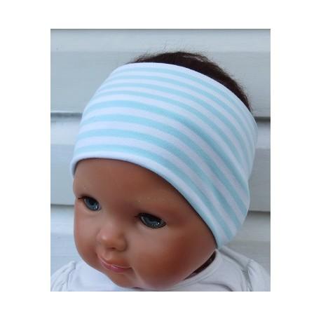 Haarband Kinder Sport Jungen Jersey Mint Streifen Weiß genäht. Cool für Kids. Farbe, KU 36-55 nach Wunsch