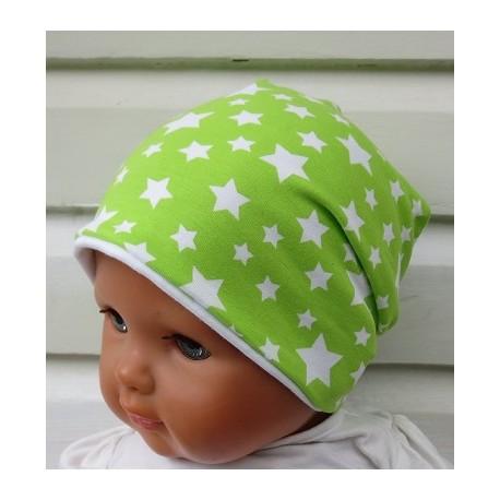Sommermütze Mädchen Grün mit Sternen Weiß aus Jersey genäht. Long Beanie zum Wenden. Farbe, KU 39-55