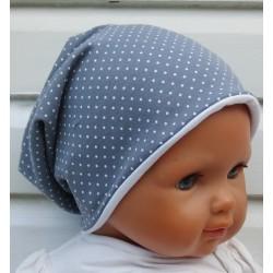 Sommer Beanie Kinder Mädchen Jersey Long Grau Punkte Weiß genäht. Partnerlook im Shop. Farbe, KU 39-55 cm