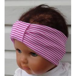Haarband Baby Mädchen Sommer Weiß Ringel Pink aus Jersey genäht. Zauberhaft. Farbe, KU 36-555 cm