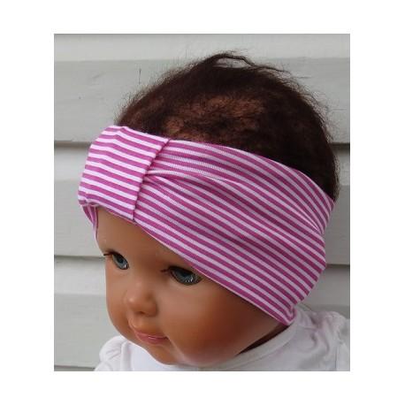 Stirnband Baby Kinder Mädchen Sommer Weiß Ringel Pink aus Jersey genäht. Zauberhaft. Farbe, KU 36-55 cm