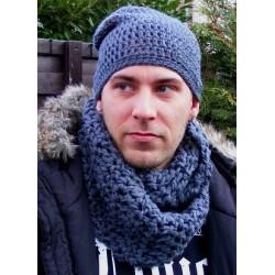 Mütze Schal Set Herren Grau mit Slouch Beanie Winter aus Wolle gehäkelt. Handarbeit. Farbe, KU 54-65 nach Wunsch