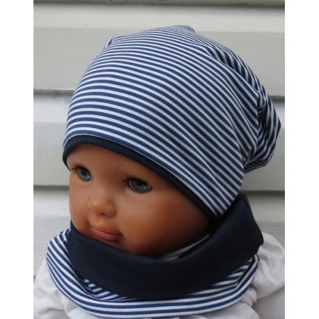 Mütze Schal Set Kinder Jungen mit Beanie Maritim genäht. Aus Jersey zum Wenden. Handmade. Farbe, KU 39-55 cm