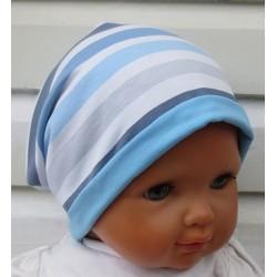 Sommer Beanie Kinder Jungen Jersey Blau Streifen zum Wenden genäht. Coole Farben. KU 39-55 cm