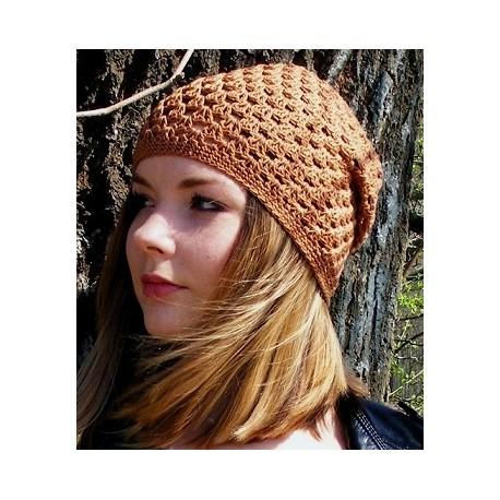 Sommermütze Damen Beanie Braun aus Baumwolle gehäkelt. Von Hand gefertigt. Farbe, KU 54-62 nach Wunsch