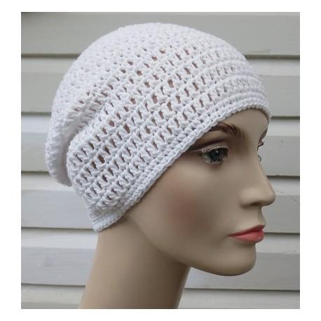 Long Beanie Sommer gehäkelt Weiß Damen Frauen luftig aus Baumwolle. Liebevolle Handarbeit. Farbe, KU 54-62 cm