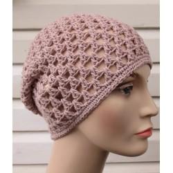 Sommer Beanie Damen Beige Frauen luftig gehäkelt aus Baumwolle. Einfach schön. Farbe, KU 54-62 nach Wunsch.