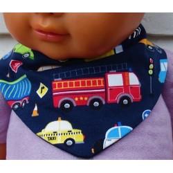 Dreieckstuch Kinder für Jungen Blau Bunt mit Fahrzeugen aus Jersey genäht. Zum Wenden. 0-10 Jahre nach Wunsch.