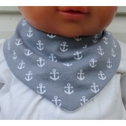 Dreieckstuch Baby Anker für Jungen Grau Weiß aus Jersey zum Wenden genäht. Handmade. 0-10 Jahre nach Wunsch