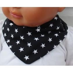 Dreieckstuch Kinder Junge mit Sternen Schwarz Weiß aus Jersey genäht. So cool. Farbe, Größe 0-10 Jahre