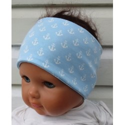 Stirnband Sport Kinder Jungen Blau Anker Weiß aus Jersey Sommer genäht. Klasse für Kids. KU 36-55 cm nach Wunsch.