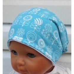 Beanie Mütze Mädchen Sommer Winter Türkis Blau Blumen Weiß aus Jersey genäht. Als Long. KU 39-55 nach Wunsch.