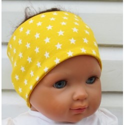Haarband Jungs Sport Gelb Sterne Weiß zum Wenden aus Jersey genäht. Partnerlook im Shop. KU 36-55 nach Wunsch.