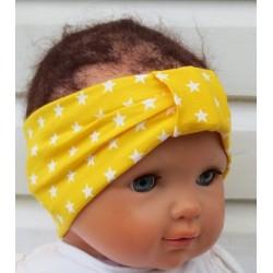 Haarband Baby Mädchen Sommer Jersey Gelb mit Sternen Weiß genäht. Farbenfroh. Handmade. KU 36-55 cm nach Wunsch.