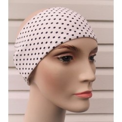 Haarband Sport Damen Sommer Jersey Weiß mit Punkten Schwarz genäht. Partnerlook im Shop. KU 54-62 cm.