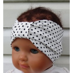 Haarband Baby Mädchen Sommer aus Jersey Weiß Punkte Schwarz genäht. Partnerlook im Shop. KU 36-55 nach Wunsch.