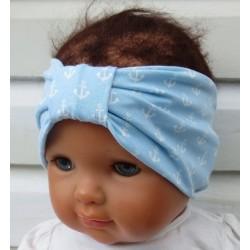 Haarband Mädchen mit Anker Sommer Blau Weiß genäht. Hübsch für Kinder. Handmade. KU 36-55 nach Wunsch.