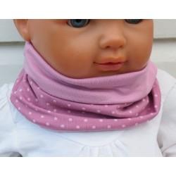 Schlupfschal Kinder Baby Mädchen Altrosa Punkte zum Wenden aus Jersey genäht. Handmade. KU 39-55 nach Wunsch.