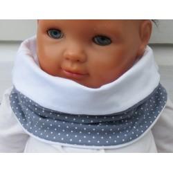Rundschal Kinder Baby Mädchen Jersey mit Punkten Grau Weiß genäht. Long Beanie im Shop. Farbe, KU 39-55 nach Wunsch.