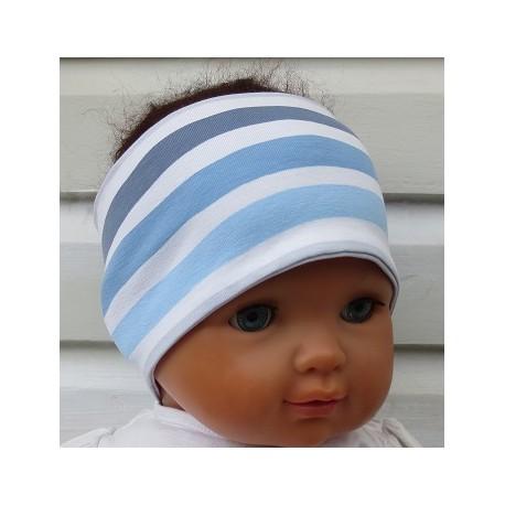 Stirnband Jungen Sport Jersey Blau Grau Weiß Streifen genäht. Zum Wenden. Beanie im Shop. KU 36-55 nach Wunsch.