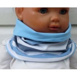 Schal für Kinder Jungen Jersey mit Streifen Blau Grau zum Wenden genäht. Long Beanie im Shop. KU 39-55 nach Wunsch.