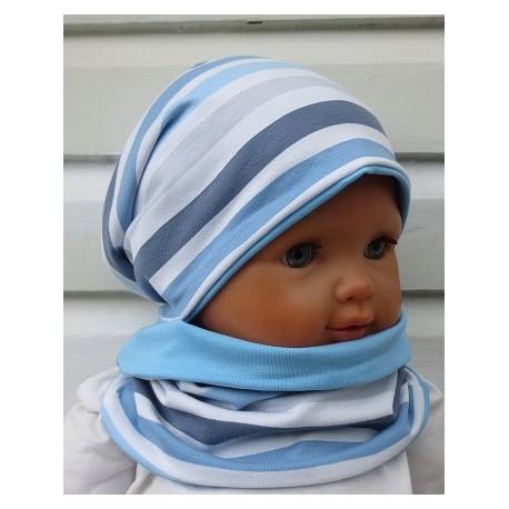 Beanie Mütze und Schal Kinder Jungen Set Jersey Blau Grau Streifen genäht. Auch mit Fleece. KU 39-55 nach Wunsch.