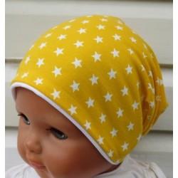 Beanie Mütze Kinder Mädchen Gelb mit Sternen Weiß aus Jersey genäht. Toll als Long. Farbe, KU 39-55 nach Wunsch.