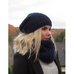 Mütze Schal Set Strick Damen Loop Dunkelblau aus Wolle gehäkelt. Kuschelig warm. Handarbeit. Farbe, KU 54-62 nach Wunsch.