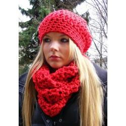 Mütze Schal Set Damen Rot mit Beanie aus kuscheliger Wolle gehäkelt. Handarbeit. Farbe, KU 54-62 cm