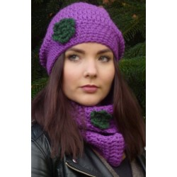 Mütze Schal Set Damen Blume