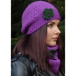 Beanie Mütze Damen Lila Grün