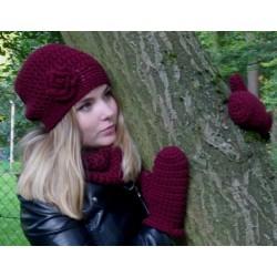 Mütze Schal Set Damen Bordeaux